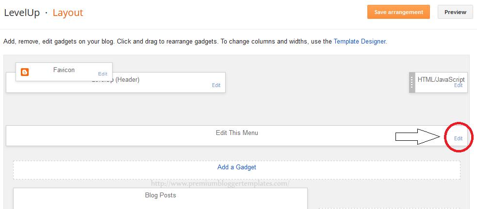 Click on Edit Link of LinkList Widget