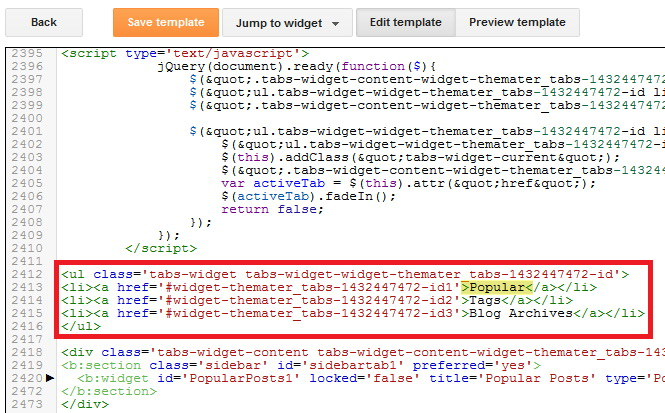 Blogger Tabs Widget Code