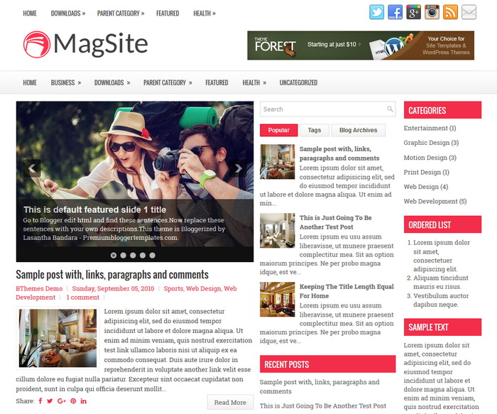 MagSite Blogger Template