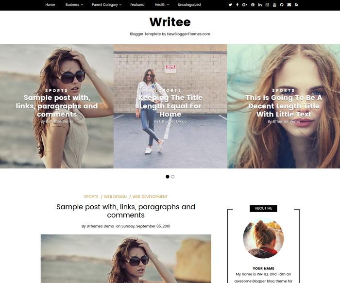 Writee Blogger Template
