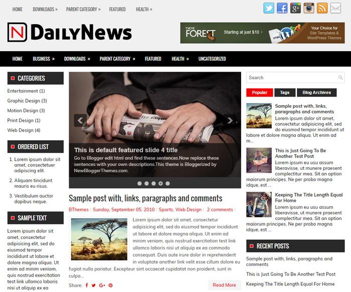 DailyNews Blogger Template