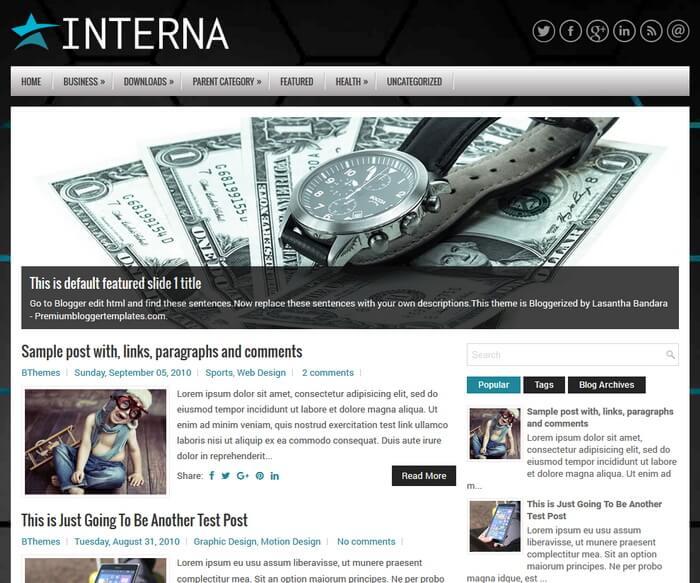 Interna Blogger Template