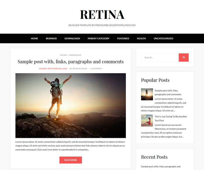 Retina Blogger Template