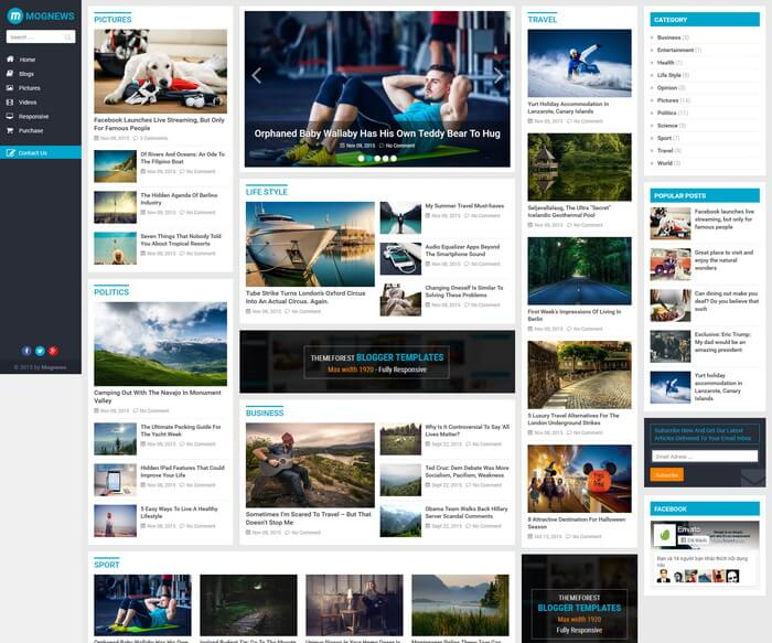 MogNews Blogger Template