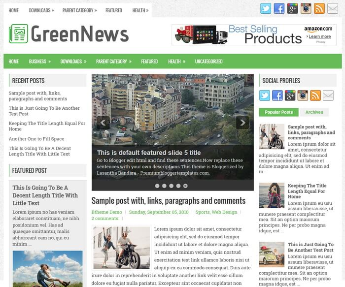 GreenNews Blogger Template