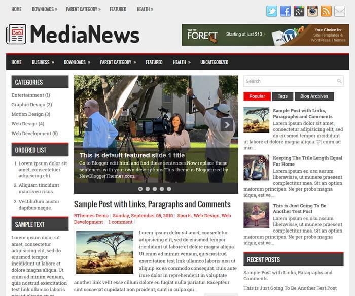 MediaNews Blogger Template