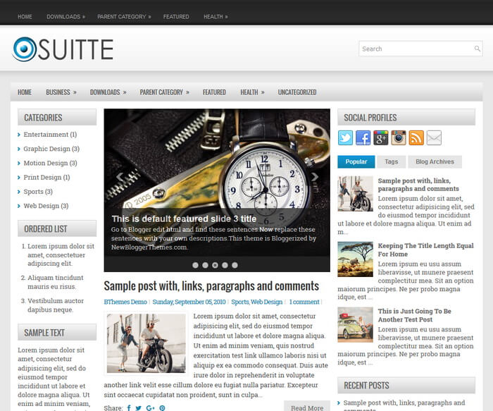Suitte Blogger Template