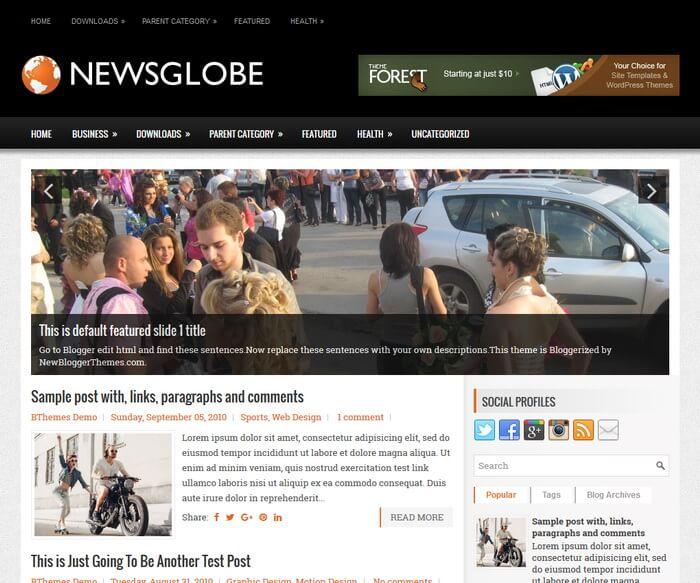 NewsGlobe Blogger Template