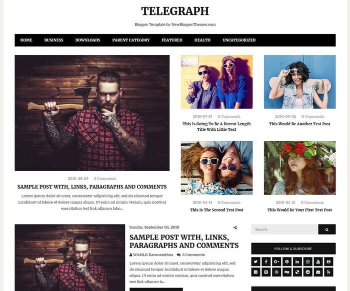 Telegraph Blogger Template