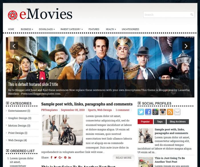 eMovies Blogger Template